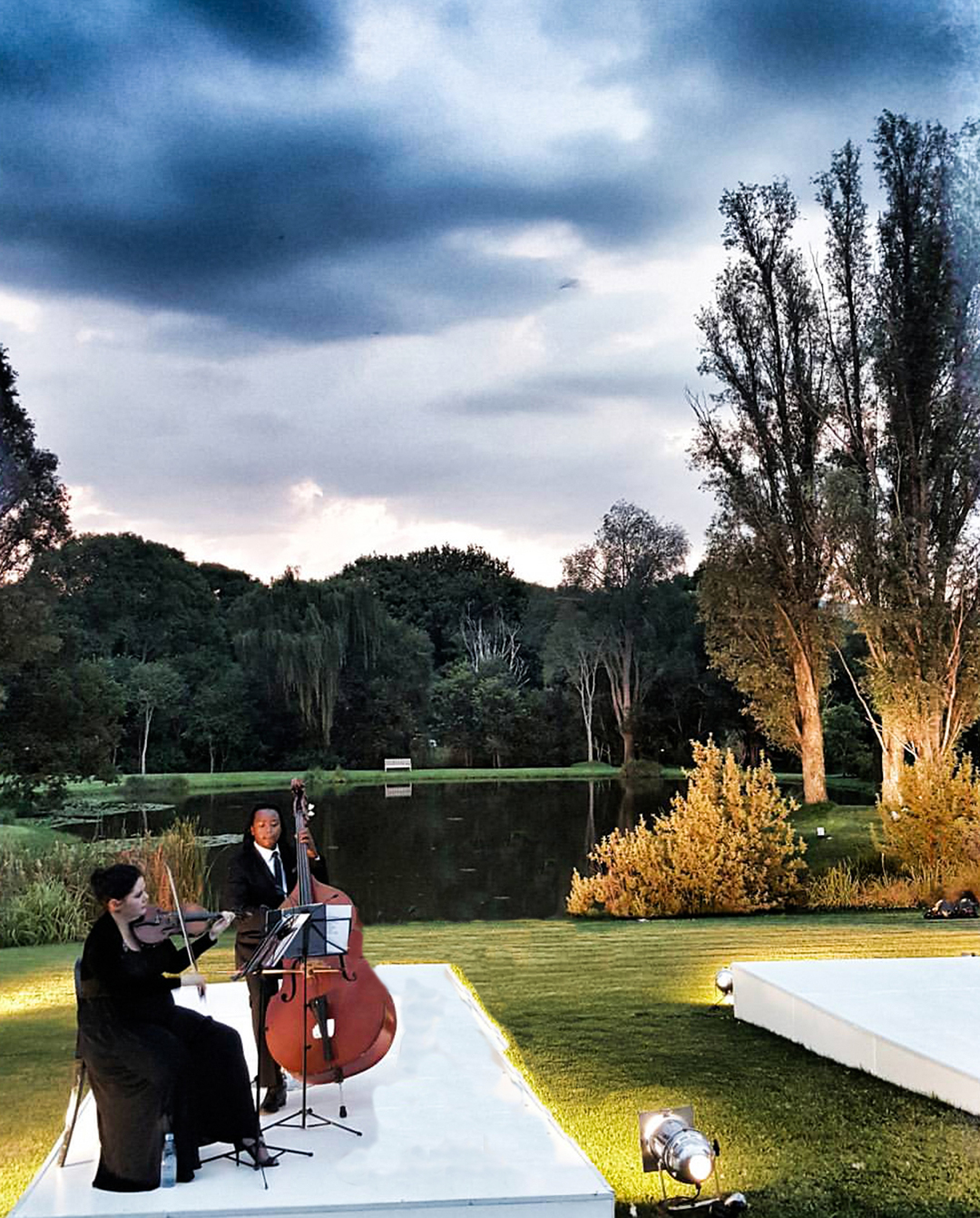 Double bassist and wedding musician performing in Hyde Park